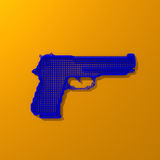 Low-poly blue gun illustration. Pop art style, low poly gun illustration on colorful background Royalty Free Stock Image