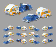 Low poly blue retro pickup with orange-white trailer house Royalty Free Stock Image