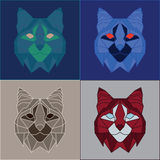 Low poly bobcats set. Four color variations Stock Photography