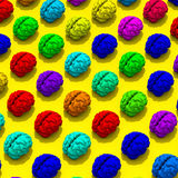 Low poly brains drawing on background. Original low poly brain illustration pattern on yellow background Stock Photography