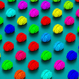 Low poly brains pattern illustration. Low-poly colorful brains illustration, 3d rendered objects Stock Photography