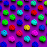 Low poly brains rendered illustration pattern. Low-poly colorful brains illustration, 3d rendered objects Stock Image