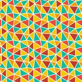 Low poly bright mosaic pattern. Seamless vector background. Red, maroon, green, yellow, orange triangles on white backrop stock illustration