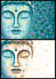 Low Poly Buddha. Abstract illustration of Buddha in 2 versions. No transparency and gradients used vector illustration