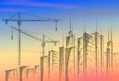 Low poly building under construction crane sunrise. Industrial modern business technology. Colorful sunset sky 3D stock illustration