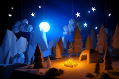 Low Poly Camping Adventure Stock Images