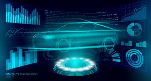 Low poly car automation diagnostics technology. Industrial data analisys business factory HUD dispalay machine welder. Auto AI polygon blue triangle geometric vector illustration