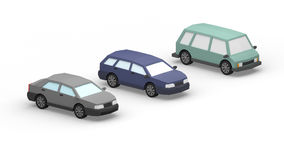 Low Poly Cars. 3d renderi low poly different types of cars royalty free illustration