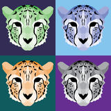 Low poly cheetah set Royalty Free Stock Image