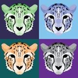 Low poly cheetah set. Nice geometric art Royalty Free Stock Image