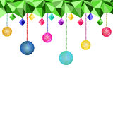Low Poly Christmas balls and light bulbs Stock Images