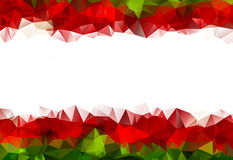 Low poly Christmas Frame of Flowers Red and Green Stock Photography