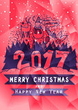 Low poly Christmas greeting card,  and Happy New Year. Hand Drawn. Design for poster, , invitation, placard, brochure. Low poly Christmas greeting card Merry Stock Images
