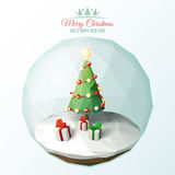 Low Poly Christmas. Scene inside a glass ornament Royalty Free Stock Photography