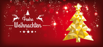 Low Poly Christmas Tree Red Headline Frohe Weihnachten. German text Frohe Weihnachten, translate Merry Christmas Stock Photography