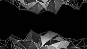 Low poly chrome constructions 3D render. Low poly chrome constructions on black. Abstract futuristic 3D render background stock illustration