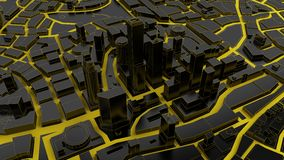 Low poly city views from above. 3d rendering. Black low poly city views from above. 3d rendering Royalty Free Stock Images