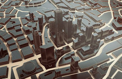 Low poly city views from above. 3d rendering. Black low poly city views from above. 3d rendering Stock Photography