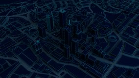 Low poly city views from above. 3d rendering. Dark low poly city views from above. 3d rendering Stock Photos