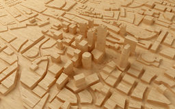 Low poly city views from above. 3d rendering. Wood low poly city views from above. 3d rendering Stock Image