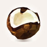 Low poly coconut. Vector illustration. Low poly coconut. Vector tropical fruit Stock Photos