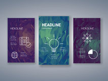 Low poly colorful background set with business. Charts, graphs, symbols. Presentation, brochure, infographics template. Geometric polygonal design. Eps10 vector Royalty Free Stock Images