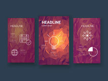 Low poly colorful background set with business Royalty Free Stock Photo