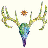 Low-poly colorful geometric deer skull with sun art Stock Images