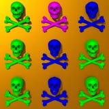 Low-poly colorful skulls illustration pattern. Colorful pop art style, rendered low-poly skulls illustration pattern Royalty Free Stock Image
