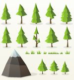 Low poly conifer trees set Royalty Free Stock Images