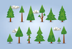 Low poly conifer trees set Royalty Free Stock Photo
