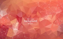 Low poly connecting and dots background. Vector tech design. Abstract polygonal Red background with connected dots and lines, connection structure, futuristic royalty free illustration