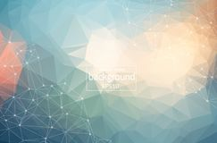 Low poly connecting and dots background. Vector tech design. Abstract Polygonal Space Background with Connecting Dots and Lines. Vector illustration stock illustration
