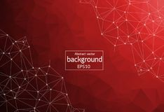 Low poly connecting and dots background. Vector tech design. Abstract Red Polygonal Space Background with Connecting Dots and Lines. Geometric Polygonal stock illustration