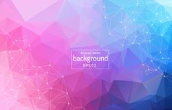 Low poly connecting and dots background. Vector tech design. Colorful abstract background. Abstract polygonal background with connecting dots and lines vector illustration