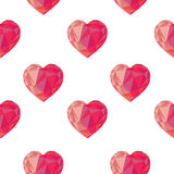 Low poly crystal bright pink hearts seamless pattern. Royalty Free Stock Images