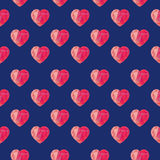 Low poly crystal bright pink hearts seamless pattern. Stock Photography