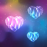 Low poly crystal hearts stock illustration