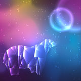 Low poly crystal polar bear. Space background with stars and planets. Cosmos glowing. Vector illustration Royalty Free Stock Photography