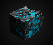 Low Poly Cube with Chaotic Structure. Stock Images