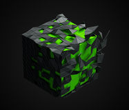 Low Poly Cube with Chaotic Structure. Abstract 3d rendering of low poly cube with chaotic structure. Sci-fi background with polygonal shape in empty space Stock Image
