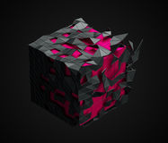 Low Poly Cube with Chaotic Structure. Royalty Free Stock Photo