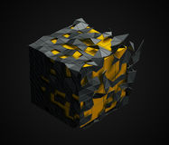 Low Poly Cube with Chaotic Structure. Royalty Free Stock Photography