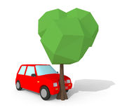 Low poly 3d car crash with tree Royalty Free Stock Photos