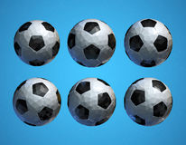 Low poly 3D football soccer ball on blue background Royalty Free Stock Photography