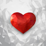 Low poly 3D heart symbol on white background. Low poly 3D heart symbol illustration on white background Stock Photos