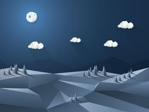 Low poly 3d landscape night scene. Nature Royalty Free Stock Image