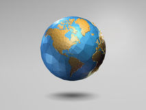 Low poly 3d shiny earth on gray background. Low poly 3d shiny earth with wireframe on gray background Royalty Free Stock Photos