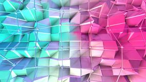 Low poly 3D surface with flying grid or mesh and black spheres as CG background. Soft geometric low poly background of. Pure blue pink red polygons. 4K Fullhd stock video