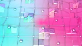Low poly 3D surface with flying grid or mesh and moving spheres as transforming environment. Soft geometric low poly stock footage